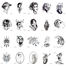 CCSEX1 6X6cm Little Vintage Old School Style Kitty Cat Head Women Skull Mask Temporary Tattoo Sticker Body Art Fake Taty