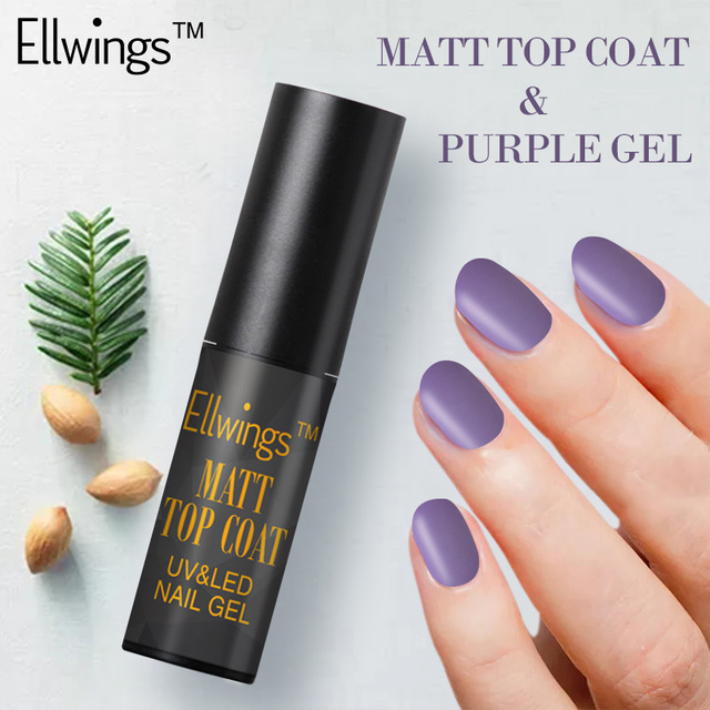 Ellwings 2pcs Transparent Matte Gel Varnish Purple & Black Matt Top ...