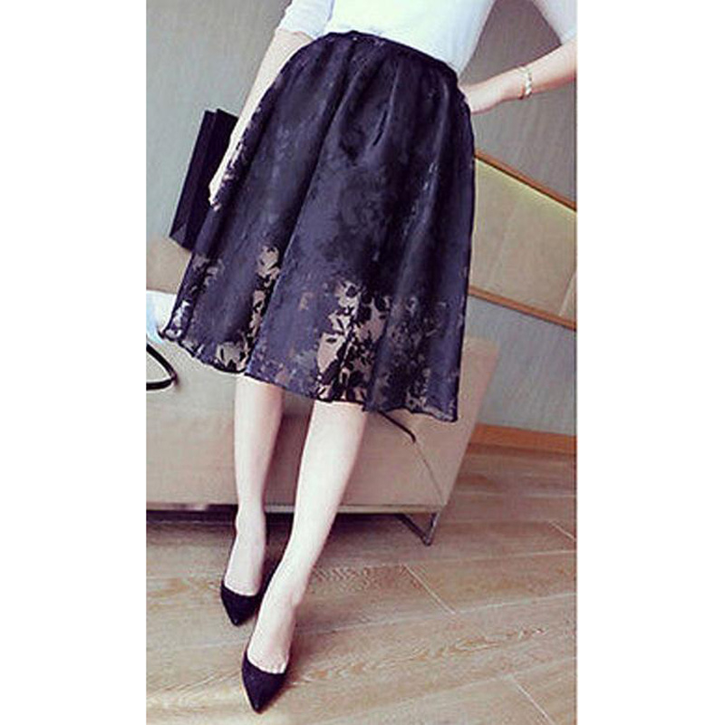New Fashion Women's High Waist Double Layer Skirt Elastic Chiffon A-line Skirt Ladies Casual Black Midi Skirt Summer