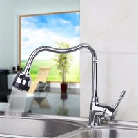 Chrome Finish Dual Spout Kitchen Sink Faucet Deck Mount Kitchen Mixer Tap Kitchen Hot And