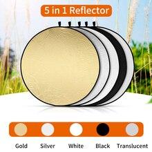 Supon refletor de luz refletor 5 em 1, 60/80/110cm, luz de fotografia dobrável, tela reflexiva para estúdio, multi disco de fotografia acessorio difusores
