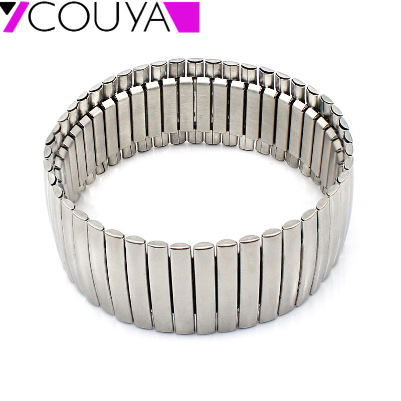 COUYA Fashion New stainless steel silver color wide stretch bracelets for men and women jewelry  High quality Free shipping