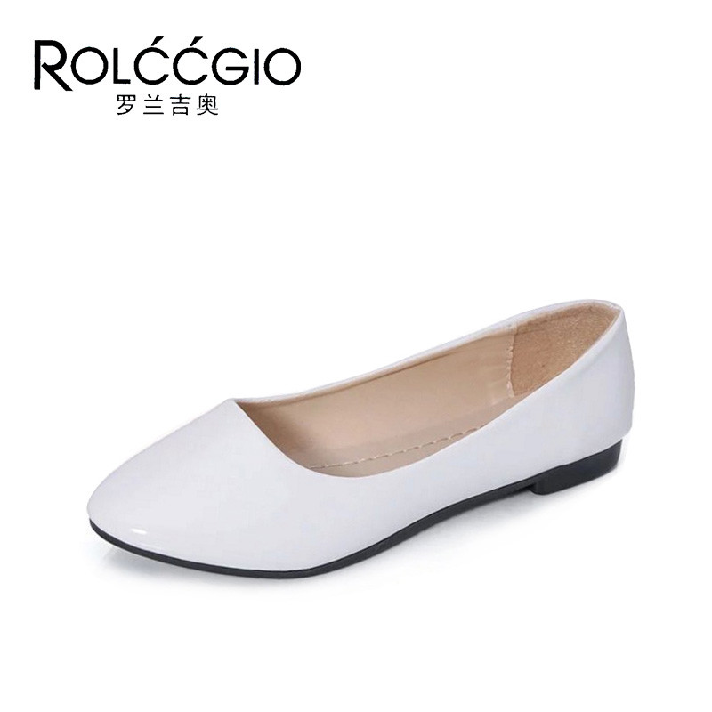 ROLCCGIO 7 Colors Patent Leather Women Comfortable Flats Shoes Female Pointed Toe Casual Shoes Lady Slip On Loafers Light Shoe women ladies flats vintage pu leather loafers pointed toe silver metal design