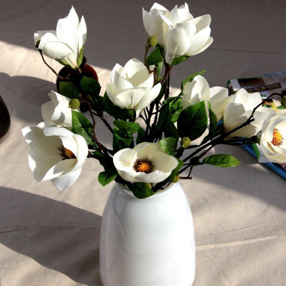 Beautiful 2 Heads Artificial Flower Magnolia Silk Flower For Valentineu0027s  Day Home Office Hotel Desk Decor