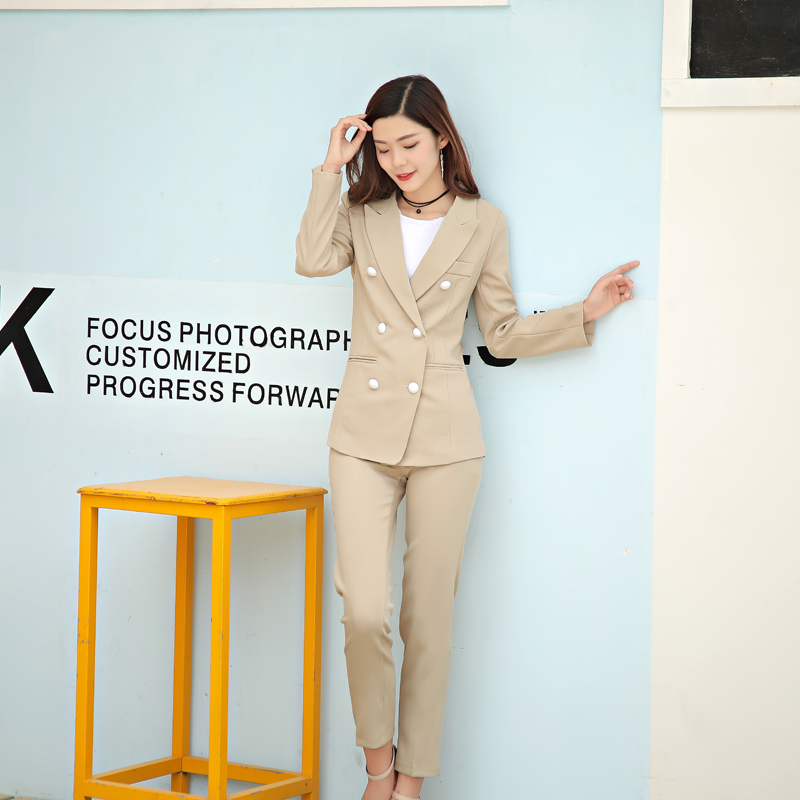 Women 39 s suitnew style spring and autumn khaki OL professional slim small suit jacket nine pants women casual fashion suit suit in Women 39 s Sets from Women 39 s Clothing