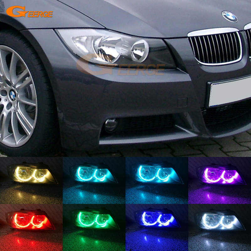 Для BMW Е90 E91 седан 2005-2008 Галогенные фары отличные с-образный Ультра-яркий RGB многоцветные светодиодные ангельские глазки набор