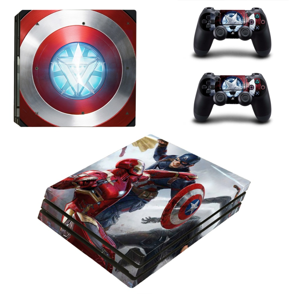 PS4 PRO Iron Man VS Captain America for Playstation 4 PRO Console Skin Decal Sticker + 2 Controller Skins Set (Pro Only)