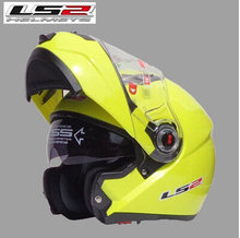 Free shipping dual lens LS2 FF370 motorcycle helmet visor exposing the high cost of new full-face helmet / fluorescent yellow