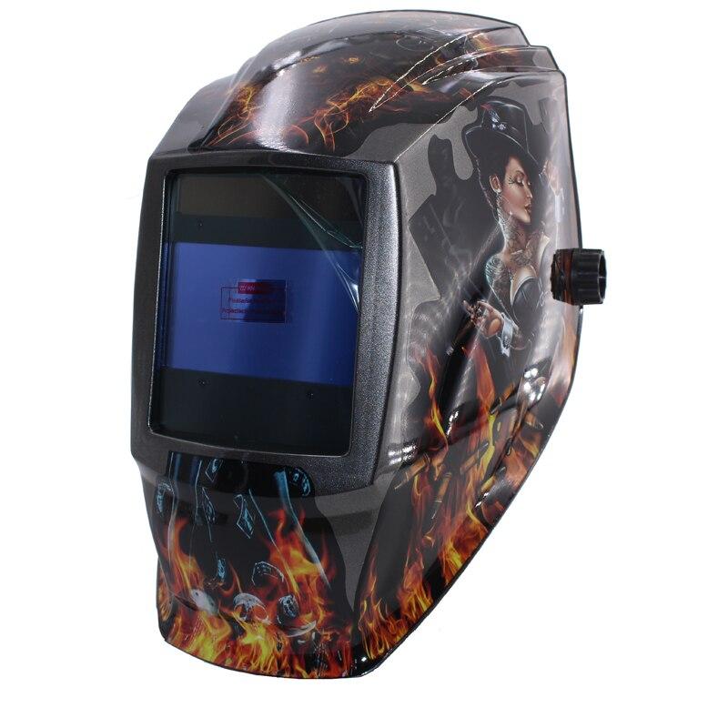 Rechangeable battery 4 arc sensor big view solar auto darkening shading grinding welding helmets welder goggles