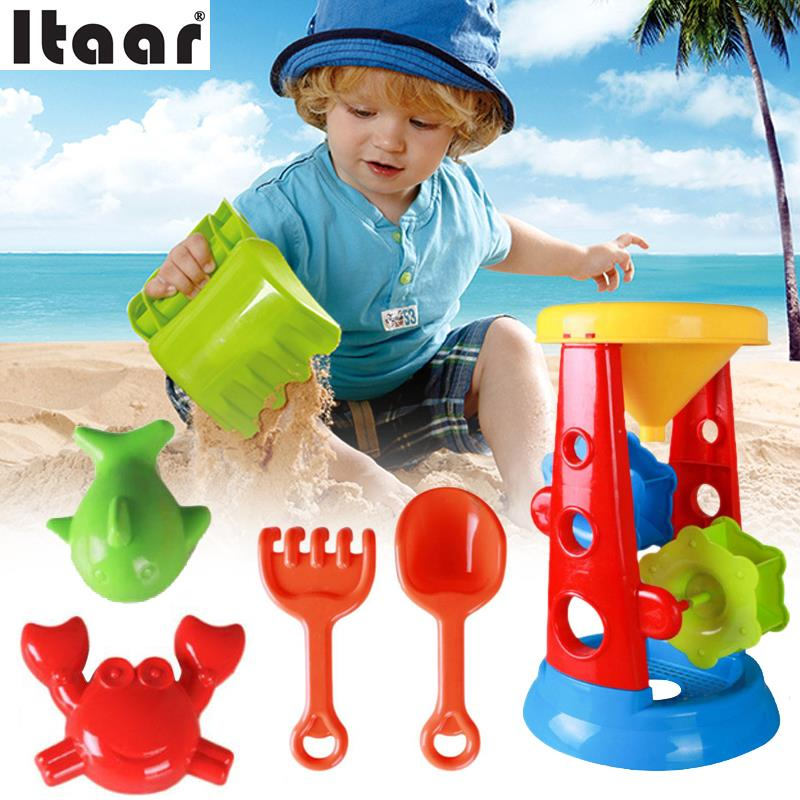 5pcs/Set Beach Sand Filter Toy Set Sand Playing Tool Sandboxes Outdoor Funny Gadgets Kids Children Colorful ...