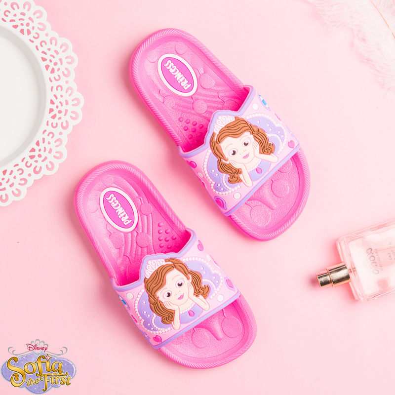 Disney Shoes Flip Flop For Kids Sophia Children Girls Summer Beach Shoes Comfort Non slip Casual Flat Heels Shoes Size 24 35 in Slippers from Mother Kids