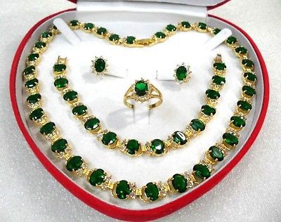 Charming Luxurious green pink Zircon Ring Necklace Earring Bracelet Jewelry Set +box Crystal Women Wedding