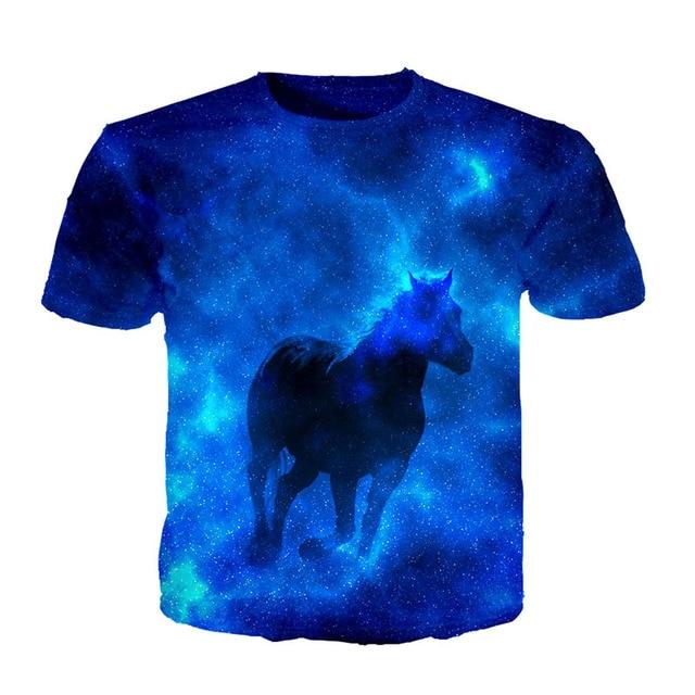 Cloudstyle 3d T Shirt Men S Short Sleeves 3d Blue Galaxy Horse Print