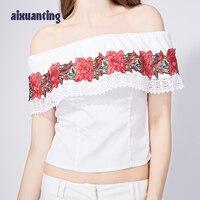 Vrouwen Zomer Lace-up Katoen Rozen Borduren T-shirt Wit Geel Tops Vrouwelijke Korte mouwen Koreaanse Dunne Shirt Tshirt Mermaid