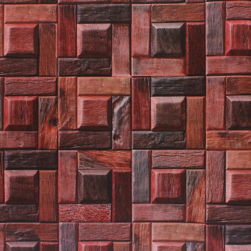 Купить с кэшбэком American Style Retro Wallpaper Character Wood Grain TV Background Bar Porch 3D Block Classic Wall Paper Roll