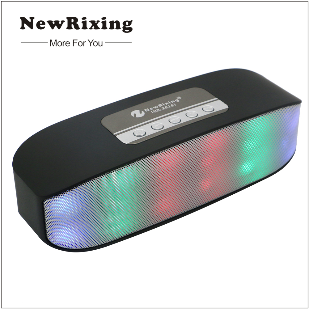 NewRixing Bluetooth Speaker Portable Speaker Wireless Stereo Speaker for Phone with Mic Handfree Dual Bass Support TF FM USB LED