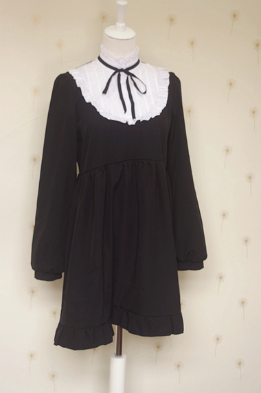 Autumn white collar black dress Summer cute kawaii lolita Vintage soft sister stand coll ...