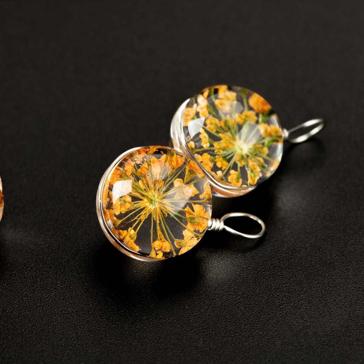 טבעי מיובש פרח עם זכוכית חרוז DIY לא טבעי אבן DIY עגילי צמיד קולר תכשיטי ביצוע חרוזים # IZ131