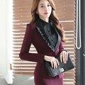 Элегантный длинным рукавом офис формальный бизнес юбка костюмы для женщин женский Рабочая Одежда мода стиль карьера одежда ОЛ двух частей набор