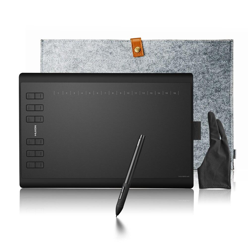 Обновленная профессиональная версия Huion 1060 Plus, графический планшет для рисования + кардридер, 8 ГБ, sd-карта 5080 LPI, 12 Express ключей + сумка + перчатк...