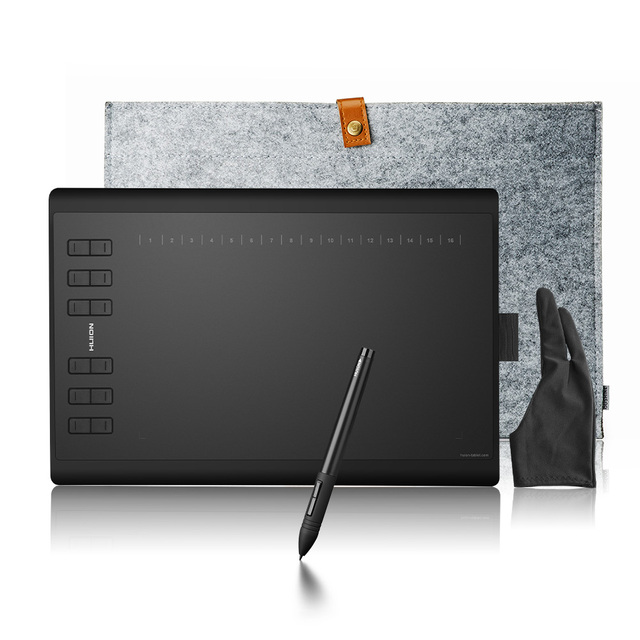 Upgraded Pro Version Huion 1060 Plus Graphic Drawing Digital Tablet +Card Reader 8G SD Card 5080 LPI 12 Express Keys +Bag +Glove