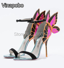 Gorgeous Colorful Butterfly Stiletto High Heels Sandals Shoes Open Toe Sexy Fashion Pumps Angel Wings Leather