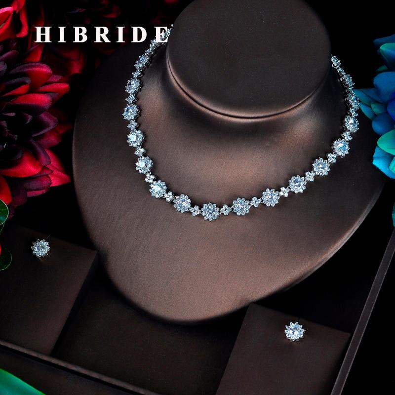 HIBRIDE luxe CZ accessoires de demoiselle d'honneur ensembles de Bijoux pour les femmes collier boucles d'oreilles ensemble de Bijoux Pendientes Mujer Moda 2018 N-598