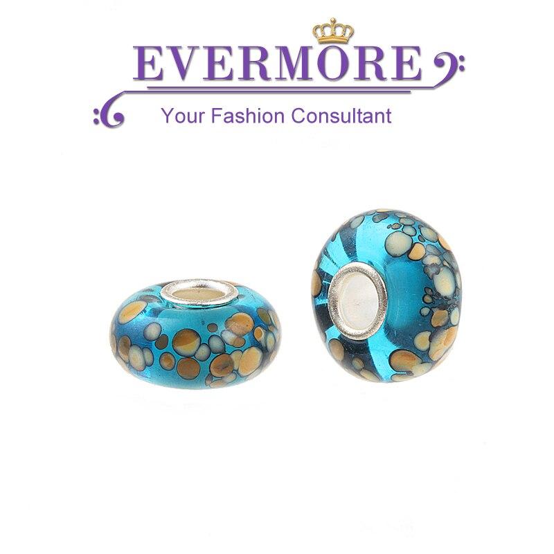 Free Shipping Antique European Blue Murano Glass Beads fit Pandora Charm Bracelet for Women Diy Jewelry
