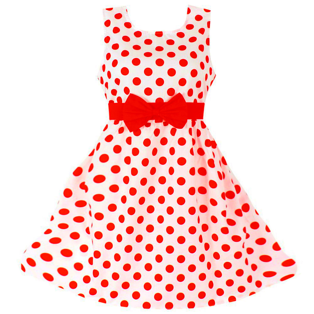 Girls Dresses Blue Dot Cotton Sundress Party Birthday Casual Baby Children Clothes Size 3-10