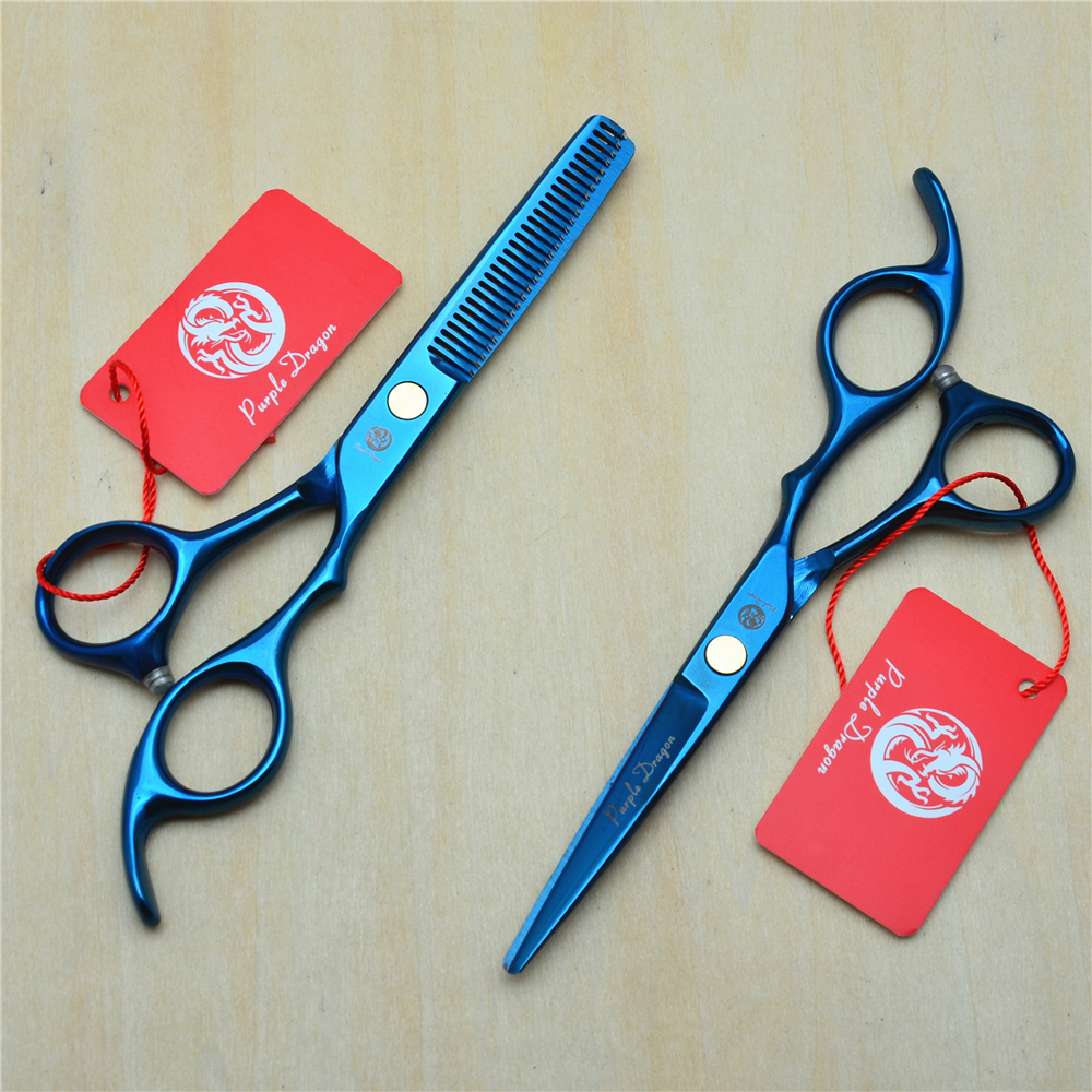 6.0 17.5cm Purple Dragon 440C Blue Colour Professional Human Hair Scissors Hairdressing Cutting Shears Thinning Scissors Z1005