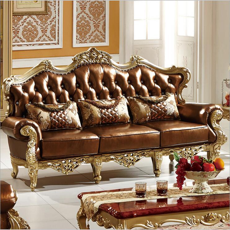 living room furniture modern fist layer genuine leather sofa European sectional sofa set p10088