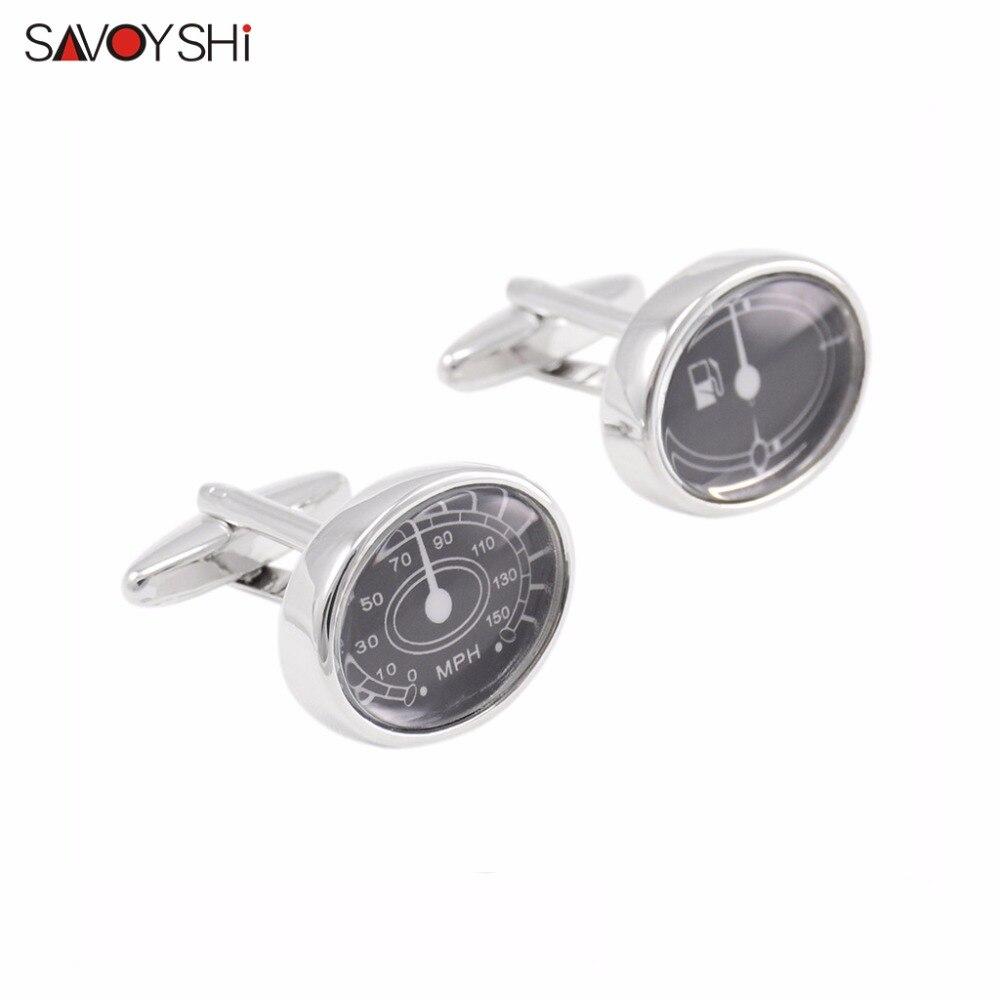 SAVOYSHI Brand Jewelry Fashion Car dashboard Cufflinks for Mens Cuff Buttons Novelty High Quality Oval Acrylic Silver Cufflinks