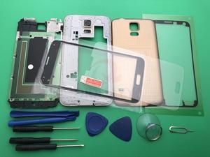 Image 2 - S5 yeni tam konut Case orta çerçeve + kauçuk conta Case arka + cam Lens için otomobil parçaları Samsung Galaxy S5 g900 i9600 + araçları