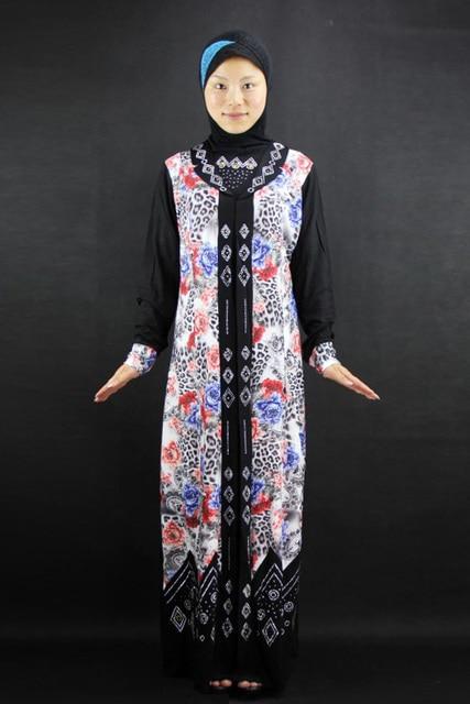 quality design 0943c f4e22 US $29.8  Nuovo donne musulmane vestito femminile blu rosso grigio bianco  fiori abiti estivi abbigliamento preghiera araba manica lunga womens abito  ...