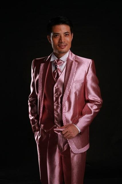 Estilo clássico de um botão brilhante noivo smoking padrinhos homens vestidos de casamento ( Jacket + calça + colete + gravata ) NO : 246