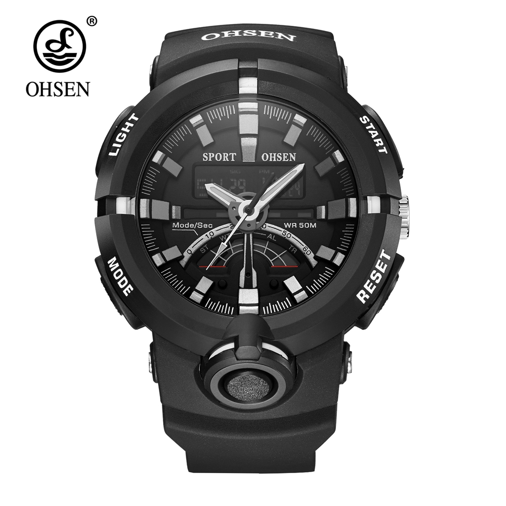 Fashion Brand OHSEN Quartz Electronic Wrist Watches Military Sport Watch Men Waterproof Man Watches Dual Time LCD Analog Relogio 2017 new colorful boys girls students time electronic digital wrist sport watch drop shipping 0307