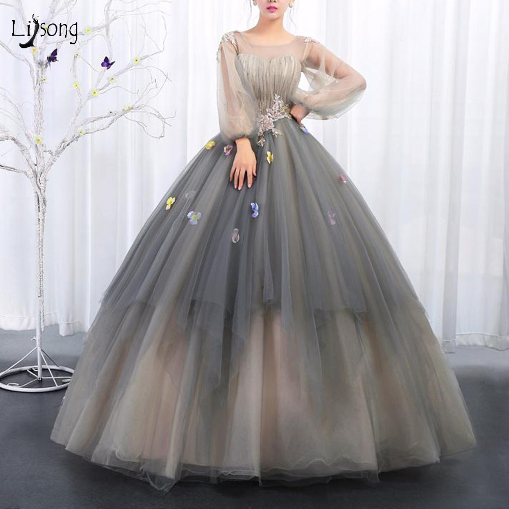 Vintage Princess Tutu Floral   Prom     Dresses   With Puffy Full Sleeves Sparkle Sequined Beaded Long   Prom   Gowns Lace Up Robe De Bal