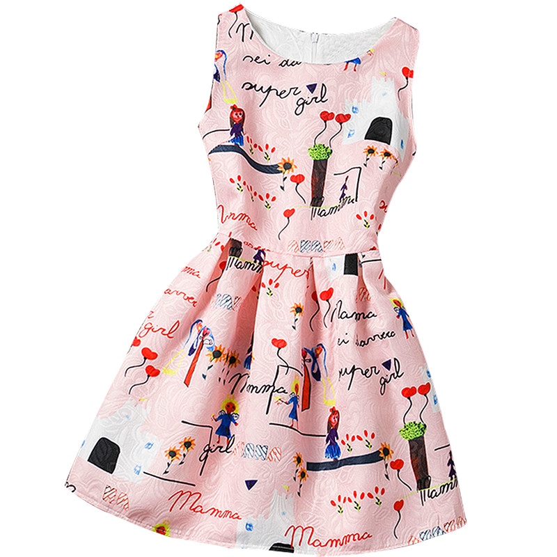 Summer Baby Girls Vintage Print Dress For 12 Years Old Girls Kids Party Dresses Girl Clothes Colorful Children Princess Costume summer 2017 new girl dress baby princess dresses flower girls dresses for party and wedding kids children clothing 4 6 8 10 year