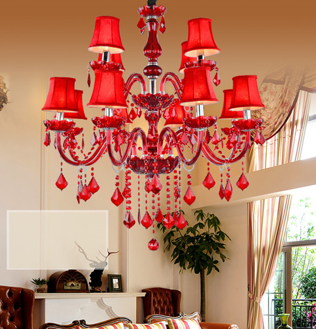 Chinese 12/15/18 pcs red shade candelabro de cristal wedding light Dining Room Living Room Cafe led chandelier crystal lamparas