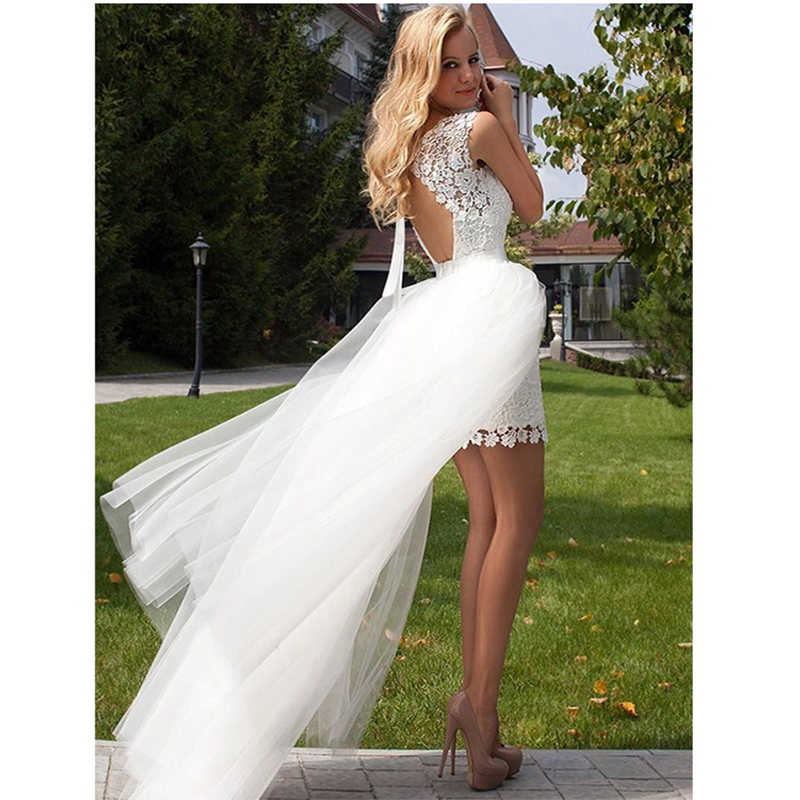 Eightree 2019 Detachable Train Wedding Gown Sleeveless Boho Princess Mini Wedding Dress Appliqued Lace Bride Dress Customized