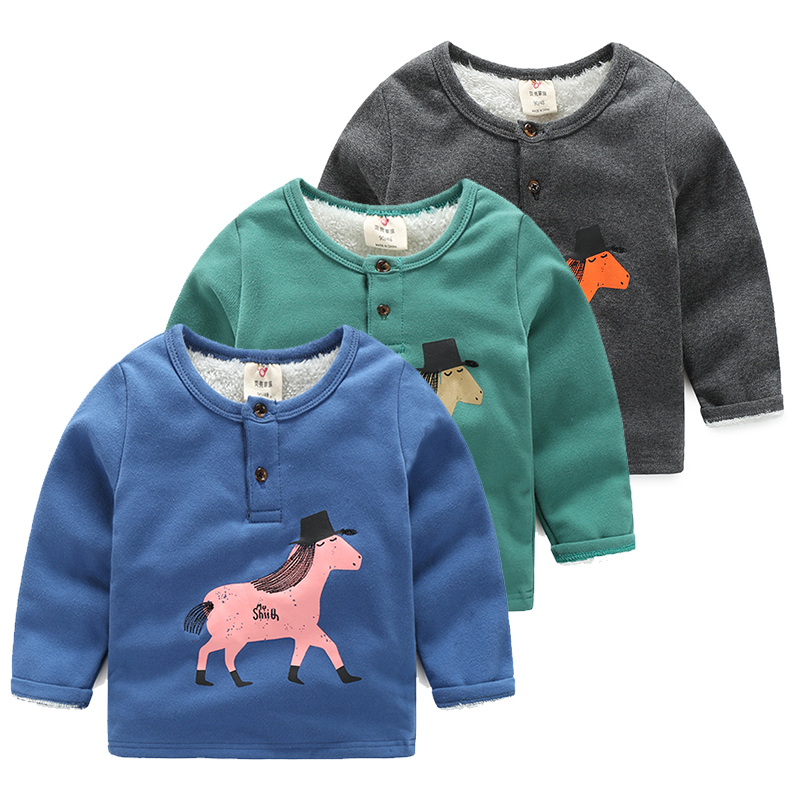 Baby sweatshirt 2016 winter boys children's child clothing  pullover wt-6635 plus velvet thickening sweatshirt
