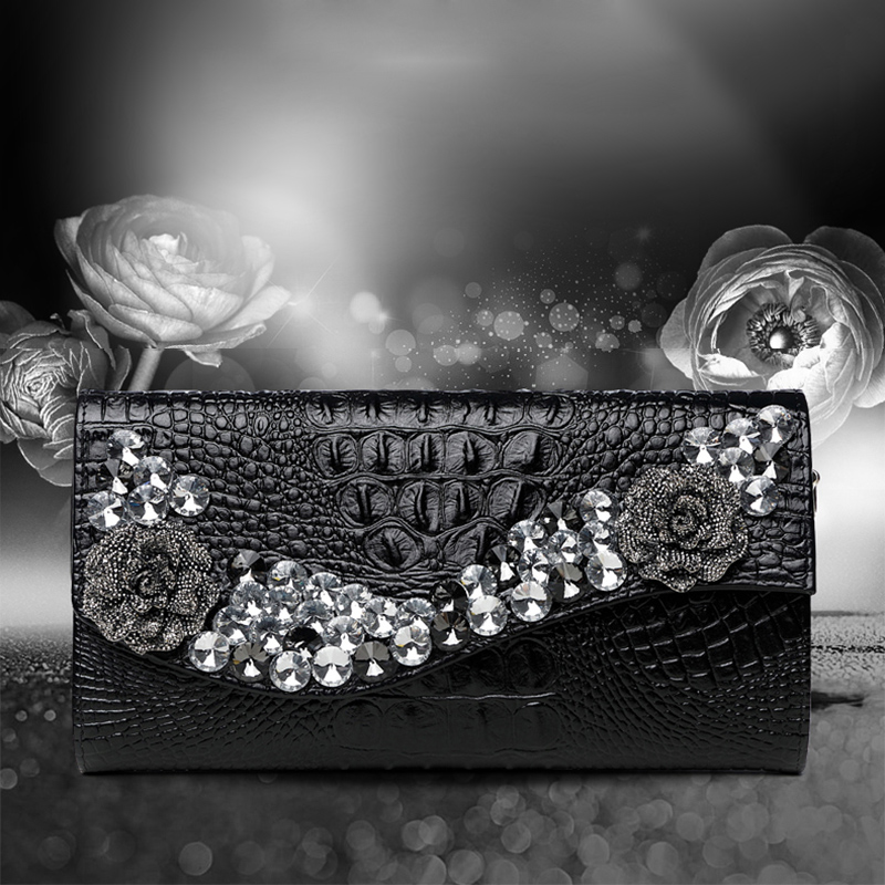 Diamonds Crocodile pattern rhinestones evening bags clutch evening bags shoulder bag wedding Day Clutches Handbags Chain Purse стоимость