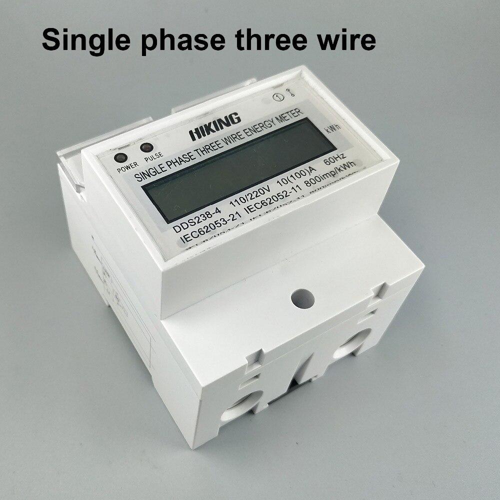 10 (100) A 220 V/110 V 60Hz monofásico tres cables Din rail KWH Watt hora din-rail medidor de energía LCD para América