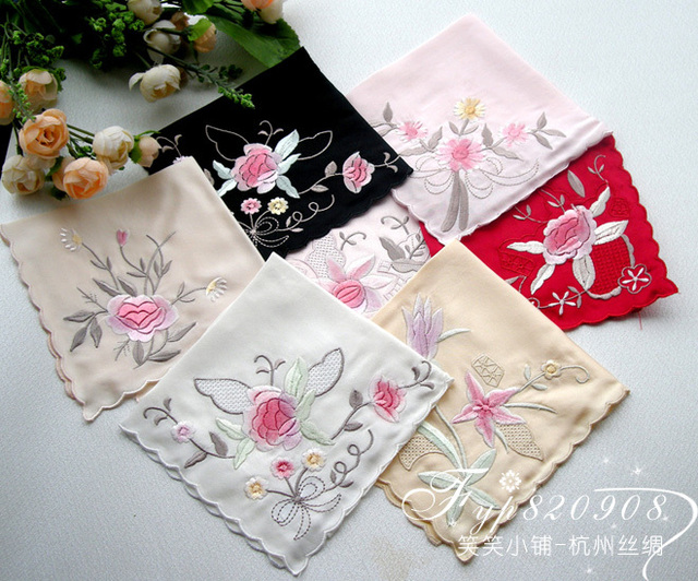 Silk crepe satin computer embroidered handkerchief eco-friendly handkerchief gift