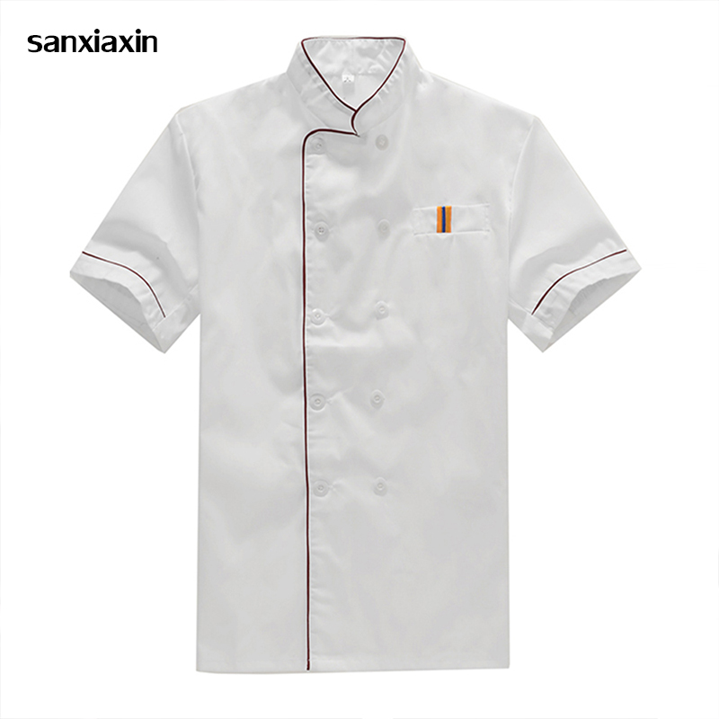 Sanxiaxin New Breathable Short-sleeved Chef Jacket Uniform Restaurant Hotel Work Wear Kitchen Man Unisex Thai Restaurant Uniform