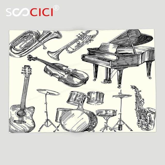Kustom Lembut Bulu Melempar Selimut Jazz Musik Decor Koleksi Alat