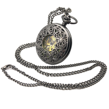 Antique Style Black Skeleton Steampunk Hollow Case Green Dial Arabic Number Mens Hand Wind Mechanical Pocket Watch w/Chain Gift