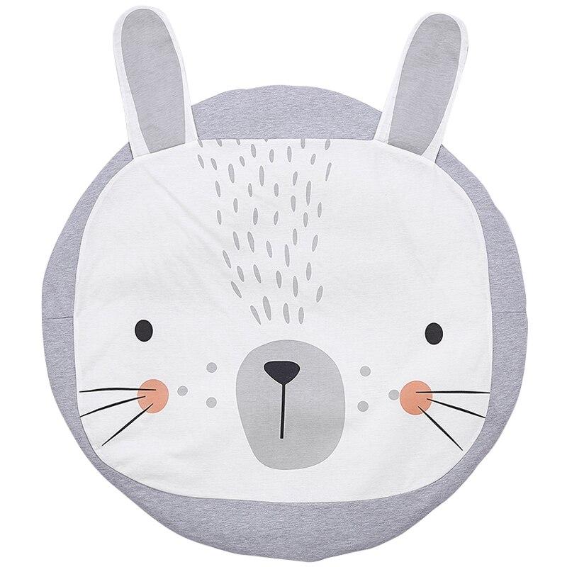 Baby Blanket Play Mat Rabbit Lion Game Mat Kids Crawling Carpet 100% Cotton Soft Baby Climbing Carpet Childrens Room Decoration