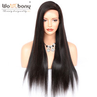Full Lace Human Hair Wigs Yaki Straight Natural Hairline Brazilian Remy Hair Lace Wigs With Baby Hair Bleached Knots WoWEbony