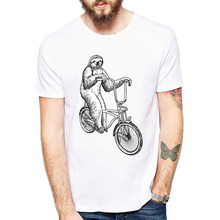 Funny Youth T Shirts Sloth Riding Bicycle Short Sleeve T-Shirts Men Animal Sloth Printed Own T Shirt(China)
